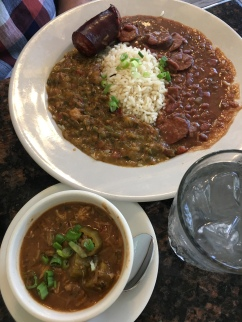 Crawfish Etouffee, red beans and rice, and Shrimp/crab/okra Gumbo